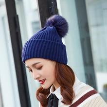 Autumn winter beanies hat for women knitted wool Skullies casual cap with raccoon fox fur pompom solid colors ski gorros cap цена в Москве и Питере