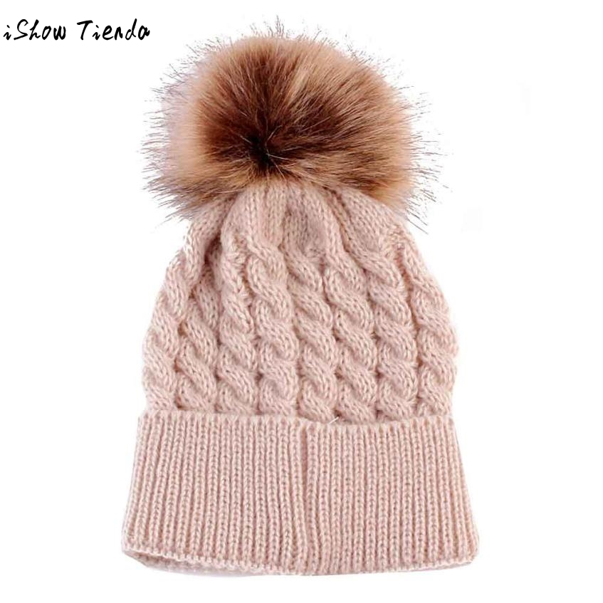 hot sale Newborn Baby Cap Twisted Knitting Hairball Cute Winter Kids Baby Hats Crochet Wool Hemming Hat #2922