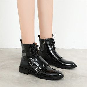 Image 5 - FEDONAS Quality Genuine Leather Cow Patent Leather Women Ankle Boots Lace Up High Heels Female Party Shoes Woman Short Boots