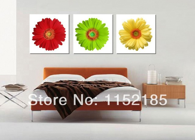 Free shipping modern yellow green red sunflower wall art 3 piece canvas wall art oil paintings  sc 1 st  AliExpress.com & Free shipping modern yellow green red sunflower wall art 3 piece ...