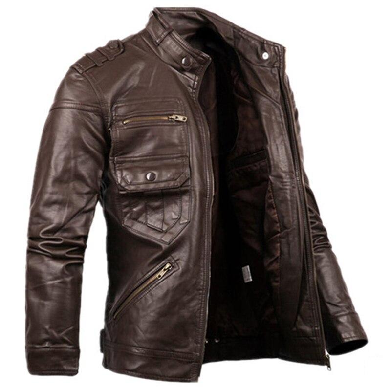 2018 nouveau Style russe hommes Zipper veste en cuir et manteaux Slim Fit homme moto Avirex vestes en cuir hommes vêtements S2156