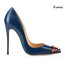 Aiyoway Fashion Women Ladies Rivet Pointed Toe High Heel Pumps Autumn Spring Party Dress Shoes Slip On Big Size US 5~17 estel mohito бальзам коктейль для волос личи фейхоа эстель balsam 200 мл