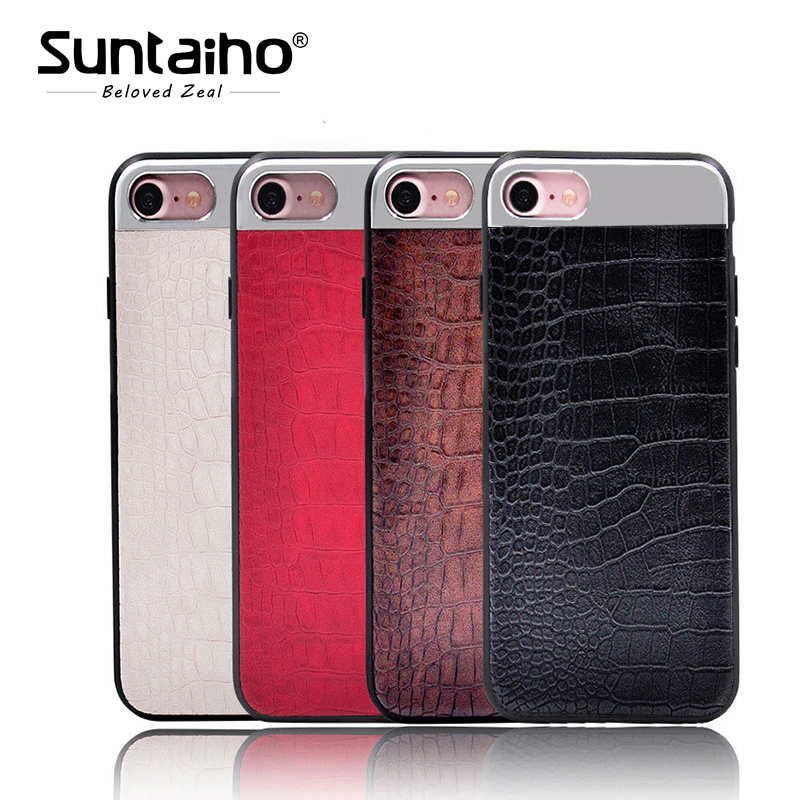 Suntaiho Phone Case PU Leather Crocodile Pattern For iPhone 7/6s Plus Case metal material Phone Back Cases Covers For iphone 8