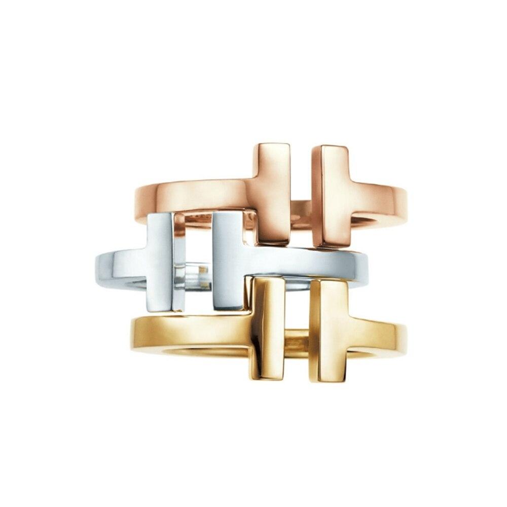 Mode moderne Double T 925-bague réglable en argent sterling lettre onze mode coréenne 925 bijoux en argent Sterling en gros