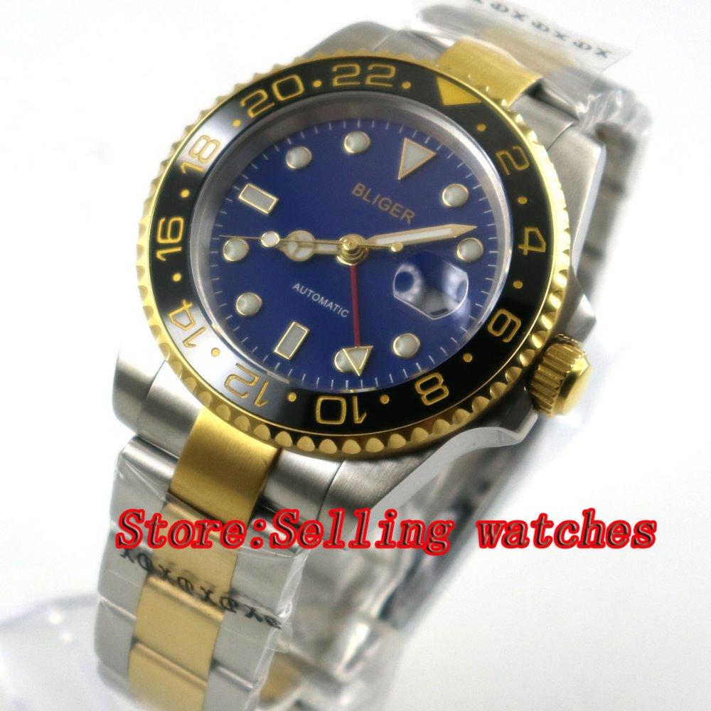 все цены на 40mm bliger blue dial sapphire glass ceramic bezel GMT date automatic men watch онлайн