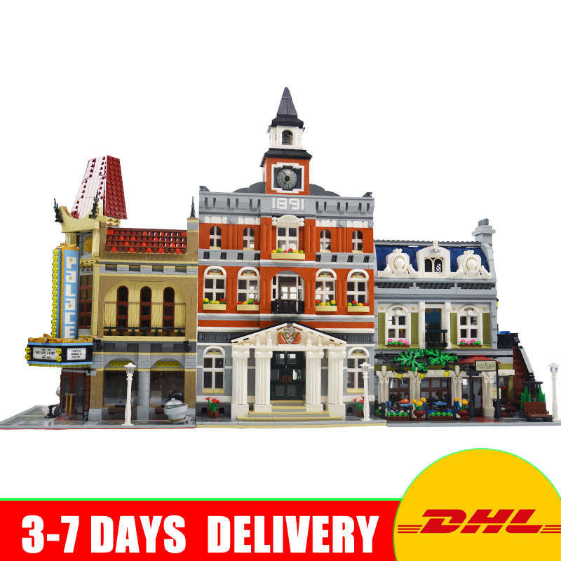 Modular City Town Street LEPIN 15003 Town Hall 15006 Palace Cinema 15010 Parisian Restaurant Model Building Kit Blocks 10224 lepin 15003 2859pcs city creator town hall sets model building kits set blocks toys for children compatible with 10024