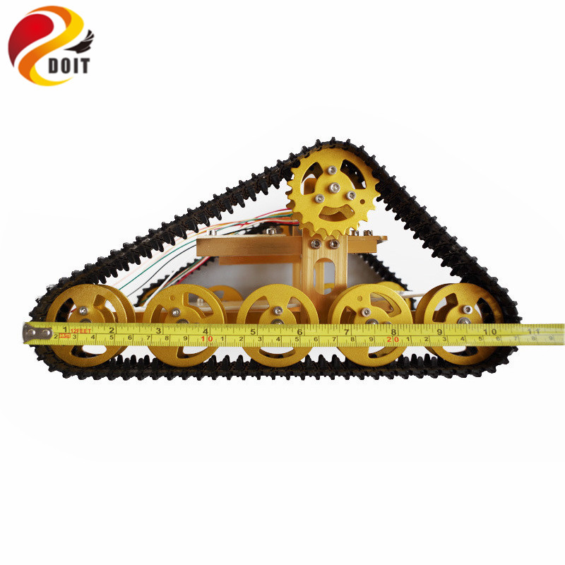 Official DOIT Metal Tank Chassis Tracked Model Crawler Intelligent Barrowload Tractor Obstacle Caterpillar Wall-e Infrared doit yellow t400 aluminum alloy metal wall e tank chassis robot crawler tracked model
