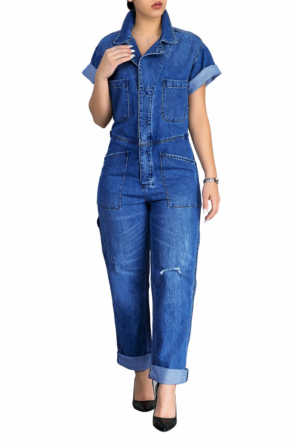 6f5b574ce37d Rolled Up Short Sleeve Loose Denim Jumpsuit Plus Size Single Breasted With Pockets  Jeans Rompers Women Casual One Piece Coverall-in Jumpsuits from Women s ...