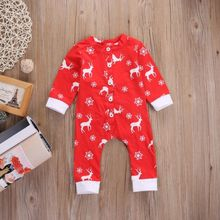 Newborn Baby Boys Girls Clothes Deer Christmas Jumpsuit Outfits