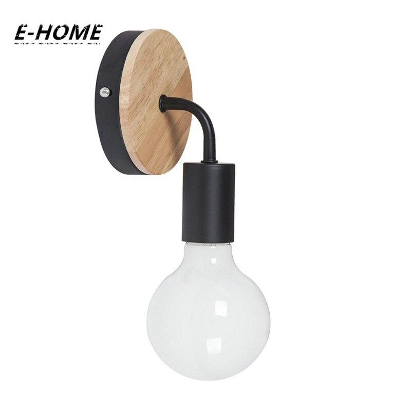 E-HOME LED modern Wood wall light or home bedroom Coffee shop, bar, restaurant White Black Wall Lamp 110v 220v e home bride 3040cm холст