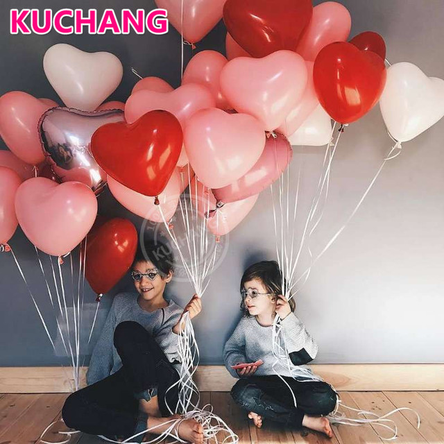 20pcs/lot 2.2g Pink White Red Love Latex Balloons Heart Shaped Thickening Pearl Balloons Wedding Supplies Birthday Party Decor