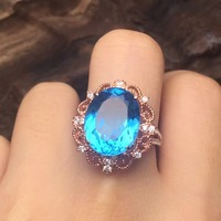 925 Sterling Silver Natural London Blue Topaz Ring 10 12mm Fine Jewelry Ring