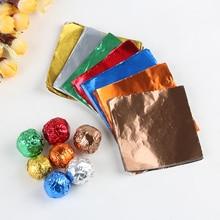 100 шт./упак. красочные площадь конфеты посылка сладости, шоколад Фольга Бумага обертки шоколада DIY посылка Бумага выпечки инструменты
