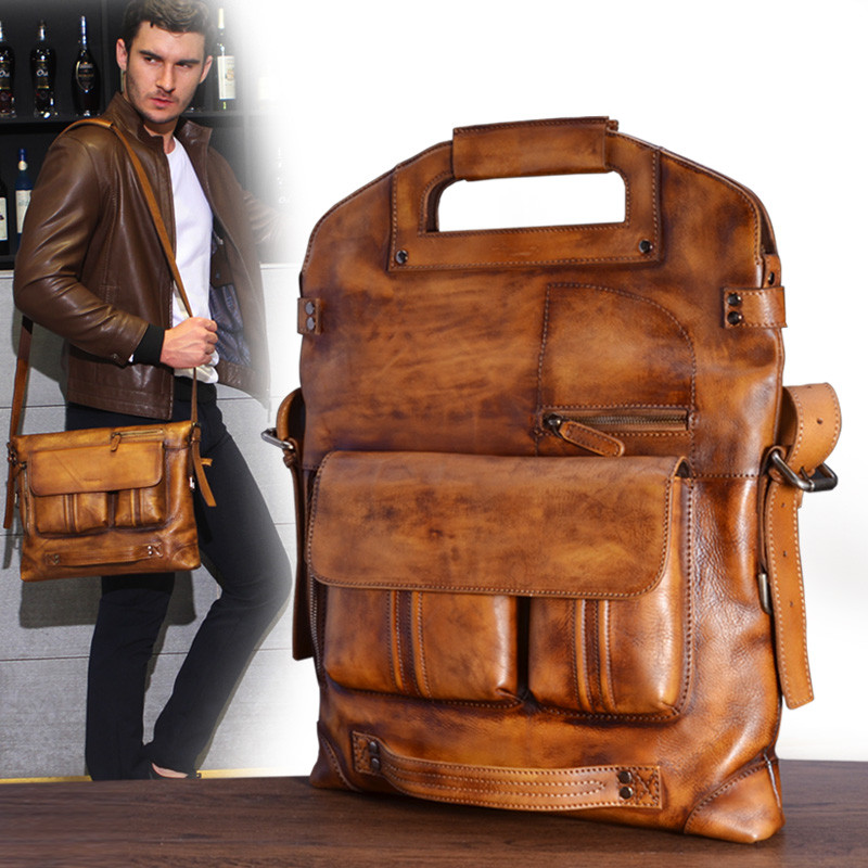 BJYL Genuine Leather men's handbag casual male Messenger bag retro shoulder bag business men briefcase retro british school women messenger bag embossed hollow out shoulder briefcase department of forestry casual satchel