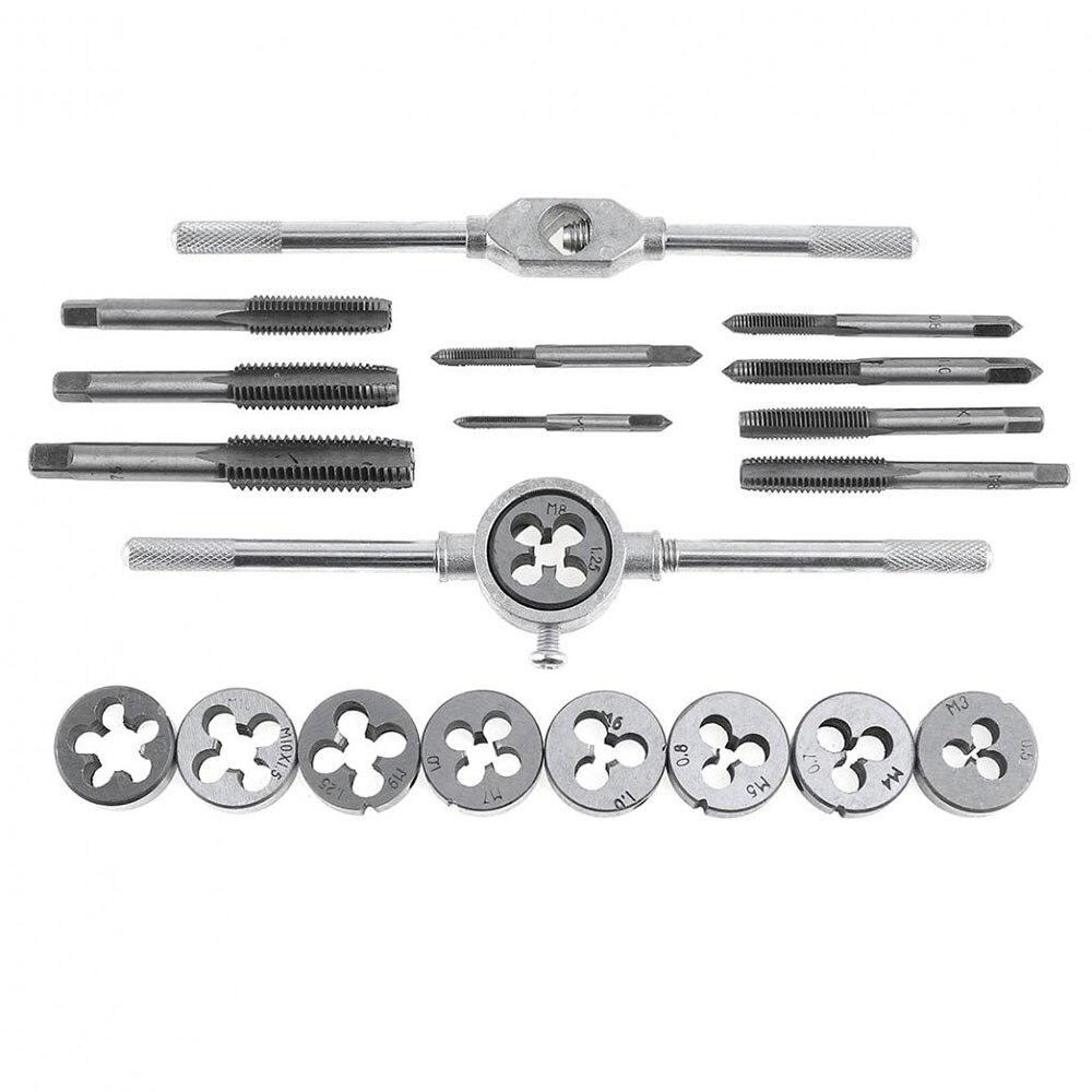 20pcs Set Alloy Steel Taps And Dies Set M3 M12 Screw Thread Die Wrench Manual Metric Tapping Tool Kit Set 16