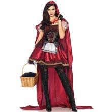 Женский красный костюм с капюшоном для езды на хэллоуине