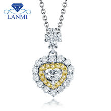Love Design Fine Jewelry Good Quality Heart Diamond Wedding Pormised Pendants for Wife Solid 18K White Gold Gift