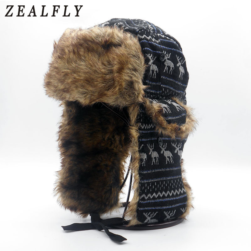 45c3f2a3abd0a Mens Ear Flaps Winter Bomber Hat Ushanka Russian Hat Warm solid color Man  Cap Cozy Bonnet Caps For Men