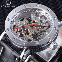 Forsining Silver Case Open Work Clock Black Red Pointer Genuine Leather Belt Automatic Watches for Men Transparent Watch