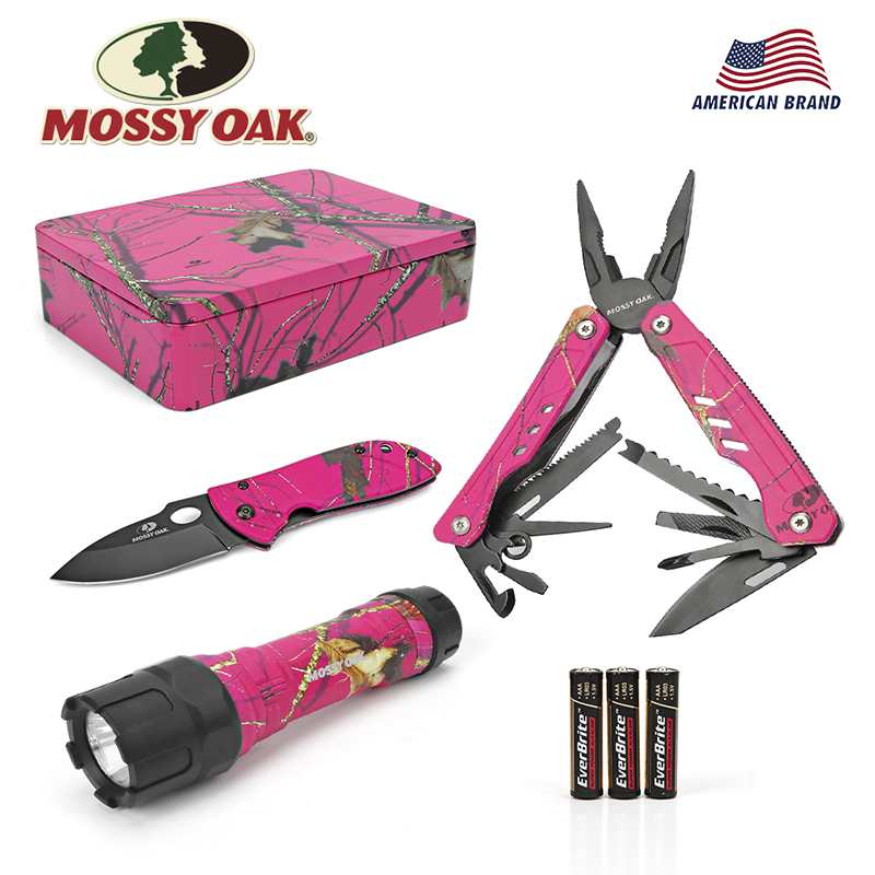 MOSSY OAK 3 PC Multitool Folding Pocket Knife Multi Pliers And LED Flashlight Outdoor Camping Hand Tools Set With Pink Gift Box