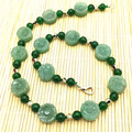 Stone Necklace Green Aventurine Fashion Sweater Necklace Choker jewelery Flower Carving Bead Necklace