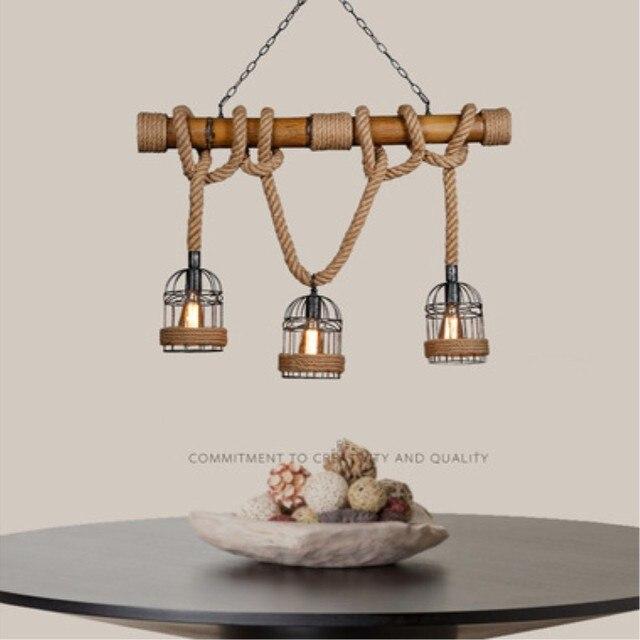 Amerikanischen Land Retro Seil Loft Bar Pendelleuchte Loft Bambus Esszimmer  Licht Café Restaurant Dekoration Lampe Freies