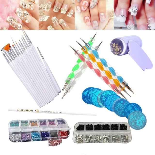 Nail Art Tool Kit Set Puntjes Schilderij Kristallen Rhinestones