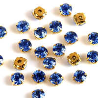 Sapphire Dark Blue Color Crystal DIY Stone With Metal Silver Gold Claw Claw Setting For Sewing