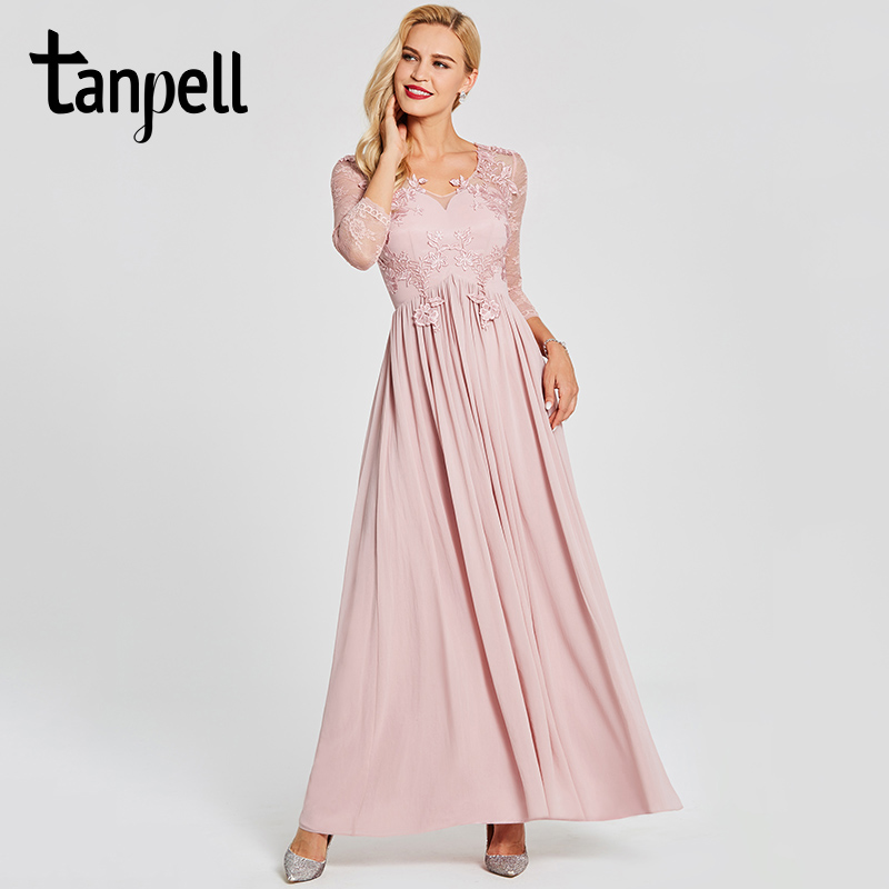Tanpell appliques long prom dress pink v neck floor length a line gown women long sleeves new wedding party evening prom dresses