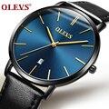 Мужские часы ультра тонкие мужские часы Лидирующий бренд OLEVS Роскошные водонепроницаемые из натуральной кожи кварцевые наручные часы Relogio ...