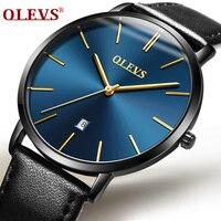 Men S Clock Ultra Thin Mens Watches Top Brand OLEVS Luxury Waterproof Genuine Leather Quartz Wrist