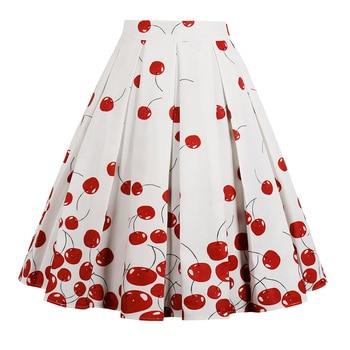 ZAFUL Plus Size Cherry Print Vintage Skirts Women High Waist Summer Skirts Vintage Polka Dot Skirt Cotton A-Line Party Skirts Юбка