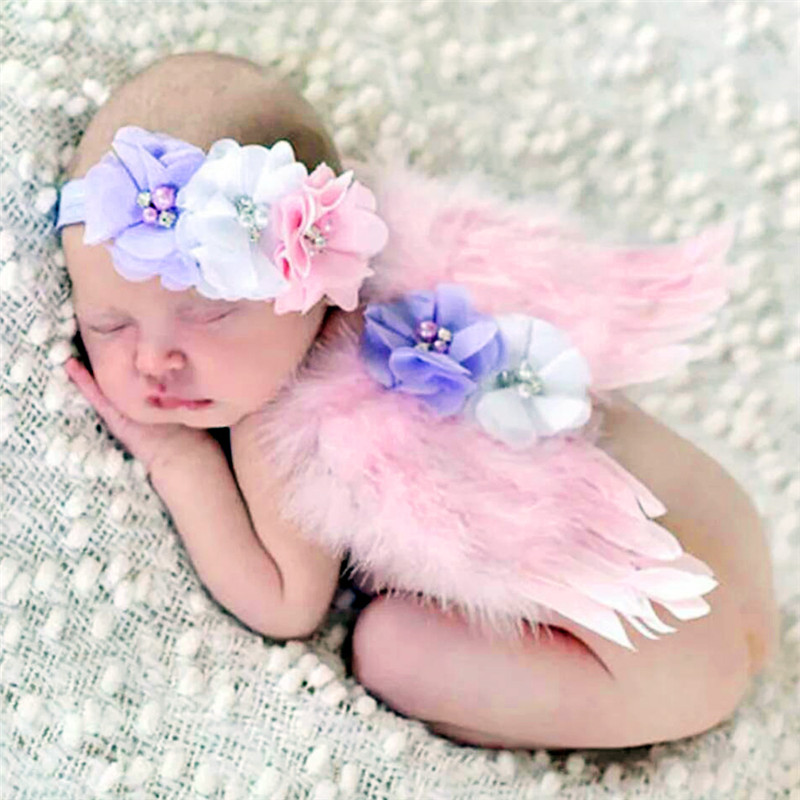 1 Set Cute Feather Lace Headband & Angel Wings Flowers Hairband Photo Props Costume Hair Band Accessories fheadwear Kids shanfu women zebra stripe sinamay fascinator feather headband fashion lady hair accessories blue sfc12441