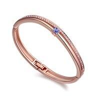 2015 NEW Swarovski Elements Crystal Women Bracelets Bangles Jewelry Fashion Brand Love Flowers CZ Diamond Gift