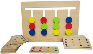 candice guo! educational wooden toy Montessori teaching AIDS four colors game logical thinking training