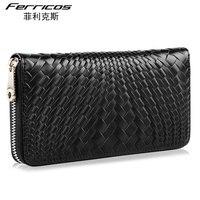 Ferricos High Quality Weave Pattern Handbag Handmade Weaving Knitting Men Cowhide Casual Wallet Leisure Clutch Bag