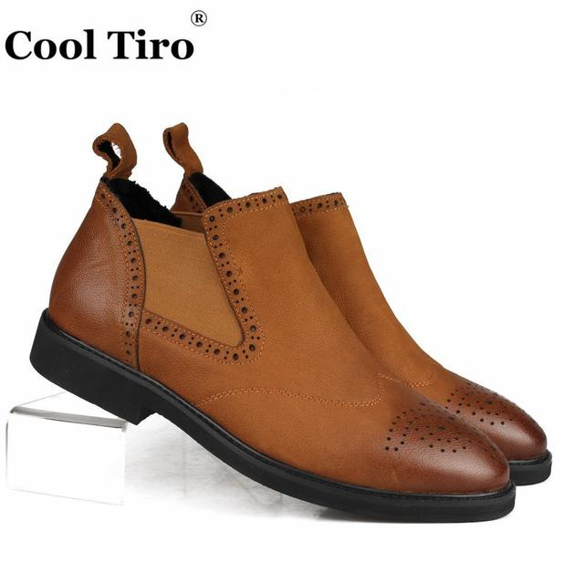 c44806f89433b US $122.0 |COOL TIRO Ankle Boots Men Shoes CHELSEA Boots Classic Genuine  Leather Men's Winter Boots Casual Slip on Brown Brogue Perforated-in  Chelsea ...