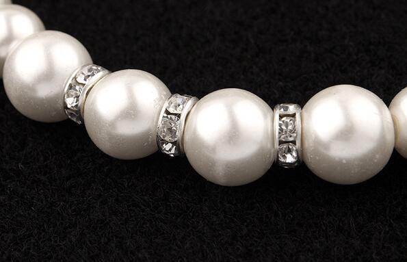 Moda clásica imitación perla enchapado en plata cristal transparente Top elegante regalo de fiesta moda disfraz conjuntos de joyas de perlas N85 6
