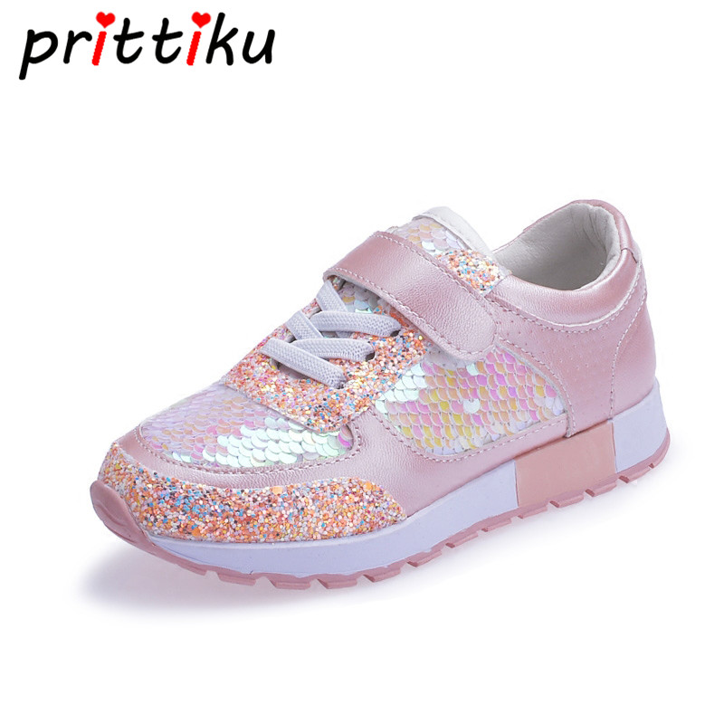 Baby Toddler Girl Boy Sequin Glitter Sneakers Little Kid Fashion Flashing Casual Trainer Children Spring Pink Black School Shoes