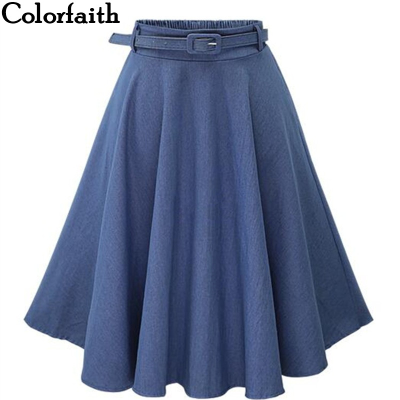 2019 Autumn Winter Fashion Women Skirt Vintage Retro High Waist Pleated Midi Skirt Denim Flared Belt Skirt Saia Femininas SK098-in Skirts from Women's Clothing