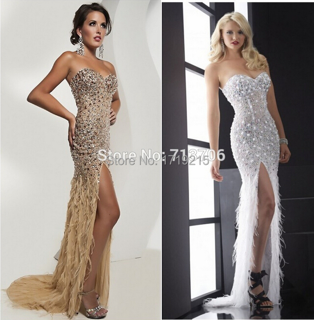 Top Selling Fashionable High slit Fully Beaded Evening Gown Feather ...