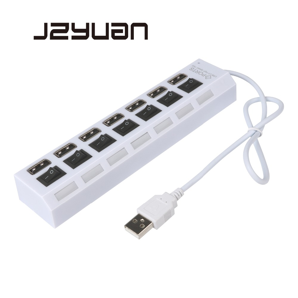 Jzyuan 4/7 Ports Excessive Velocity Usb Hub 2.0 480Mbps Hub On/off Change Transportable Usb Splitter Peripherals Equipment For Pc