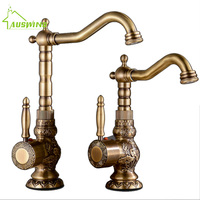 Brass Kitchen Faucet European Antique Retro Carved Basin Faucet Rotating Single Handle Hole Hot And Cold