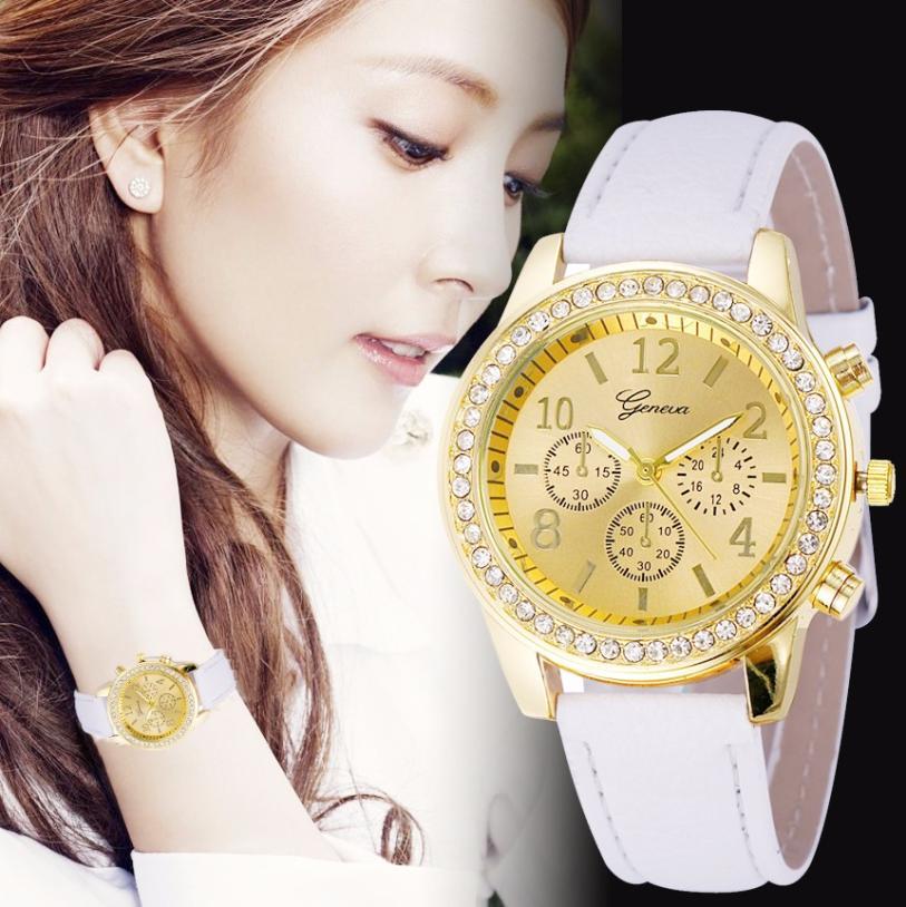 Luxury Geneva Watches Women Brand 2017 Classic Round Dial Quartz Watch Mens Dress Clock Crystals Leather Strap Watch Relojes #Ju
