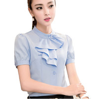 Shirt Women Summer Chiffon Tops Solid Color White Short Sleeve Blouses Ruffle Elegant Feminine Blue Purple