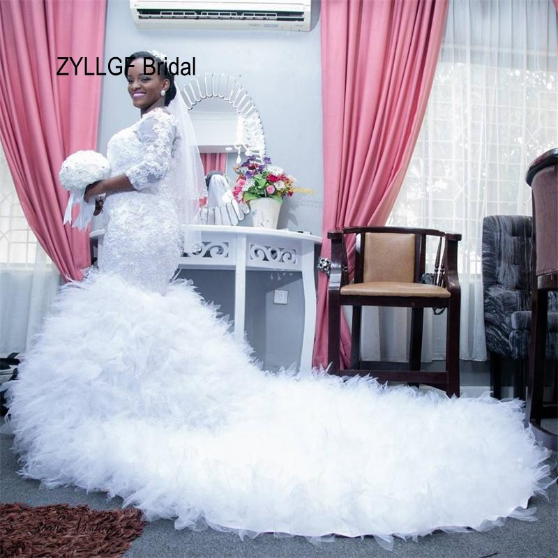 Zyllgf Bridal Mermaid Off Shoulder African Weding Gowns Lace Tulle