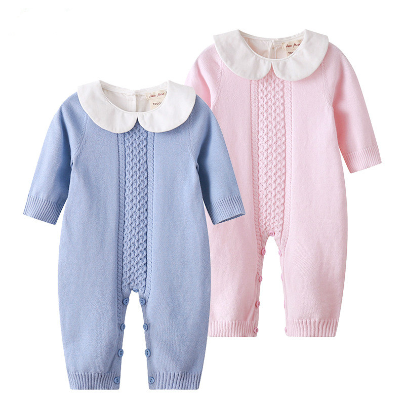 2018 Spring Baby Rompers Baby Girl Long-sleeve Knitted Overalls Infant Girl Princess Cotton Clothes Baby Girl Onesie ...