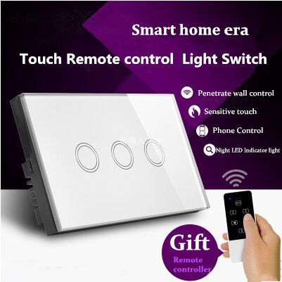 US Standard Touch Remote Control Light Switch,3Gang1Way White/Gold Pearl Crystal Glass Wall Switch, With LED Indicator,MG-US01RC white 1 gang 1 way led crystal glass panel light touch screen remote switch for light with wireless remote control 110v 220v
