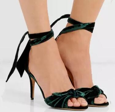 Summer New Brand Women Pink Black Green Burgundy Suede Velvet Clarita Bow-embellished Sandals Lace Up Party Sandals Shoes black sequins embellished open back lace up top
