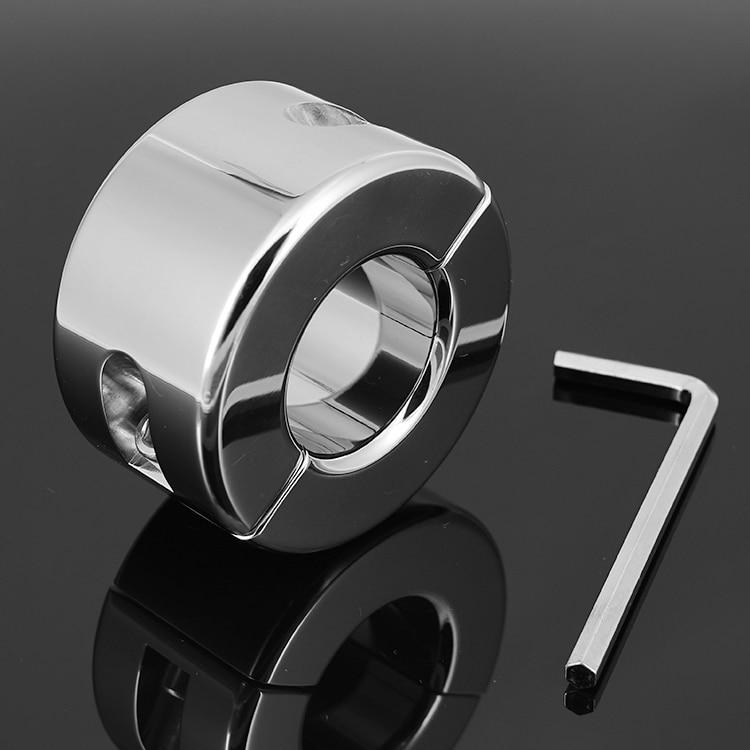 980g lourd en acier inoxydable Scrotum civières Scrotum anneau en métal verrouillage pendentif boule poids pour CBT Chrome finition mâle sex toy